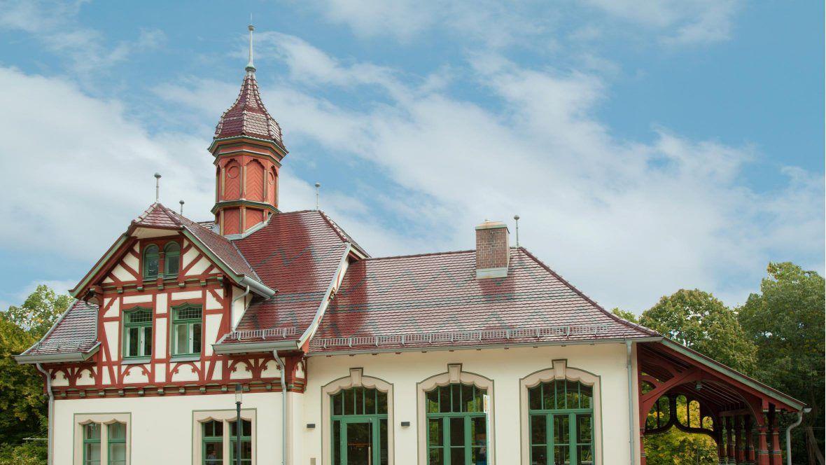 Biberschwanzziegel edelweinrot auf Dach einer Museumslandschaft